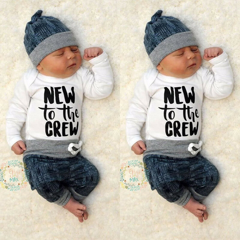 Newborn Kid Baby Boy Girl 3pcs Clothes Jumpsuit Romper ...