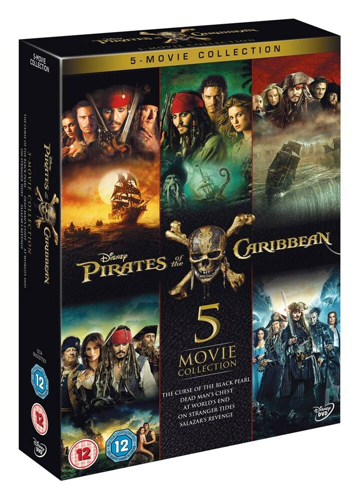 Pirates Of The Caribbean 5 Movie Collection Box Set Dvd