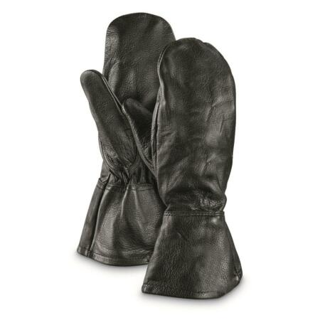 img-Genuine Vintage Swedish SWEDEN Army Surplus Leather Mittens BLACK