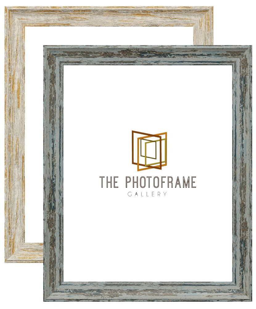 Vintage Distressed Effect Picture Frame Blue Poster Frame White Wood ...