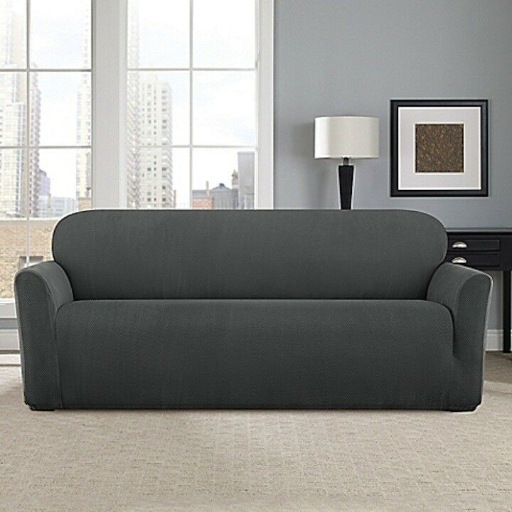 Sure Fit Stretch Modern Chevron Sofa Slipcover In Carbon