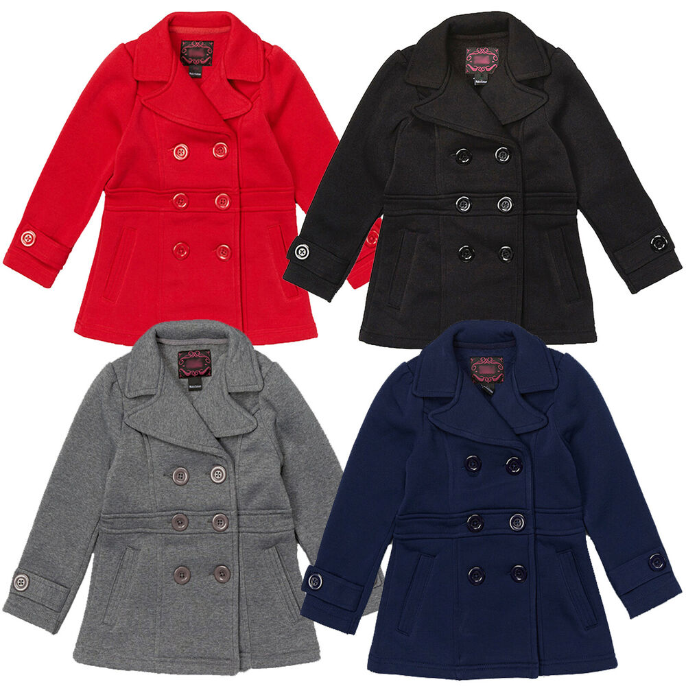 254f2b68b Details about NEW Girls Double Breasted Pea Coat Holiday Winter Kids Sz 6 8  10 11