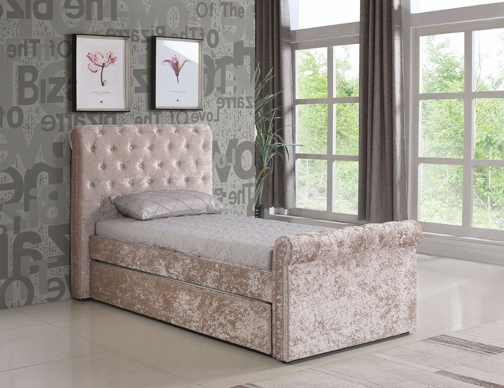 New 3ft Single Chesterfield Crushed Velvet Fabric Bed
