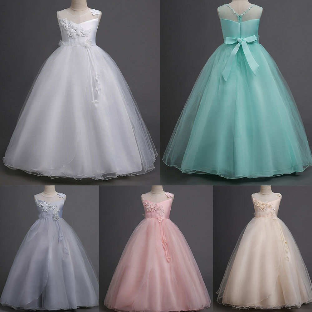 e0f6f295155e Details about Pageant Flower Girl Princess Dress Tulle Long Gown for Kids  Wedding Bridesmaid