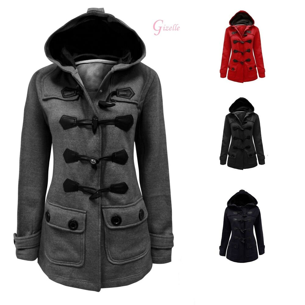 4cdaafb080b1 Details about LADIES WOMEN FLEECE JACKET DUFFLE STYLE HOODED TOGGLE POCKET  COAT TOP SIZE 8-26