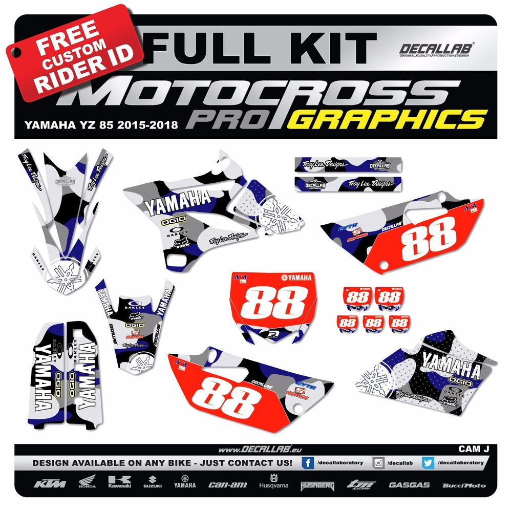 Details about yamaha yz 85 2015 2016 2017 2018 super durable mx graphics decals stickers dl