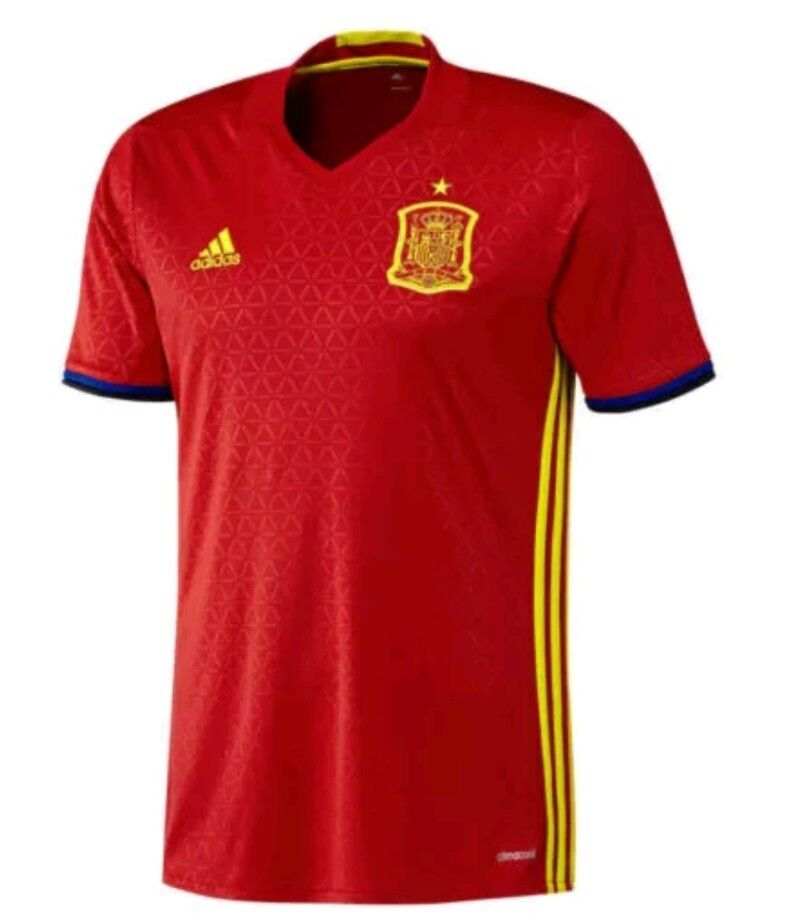 Men s Adidas Spain Home 2016-17 Climacool Soccer Jersey Red 266c1219d