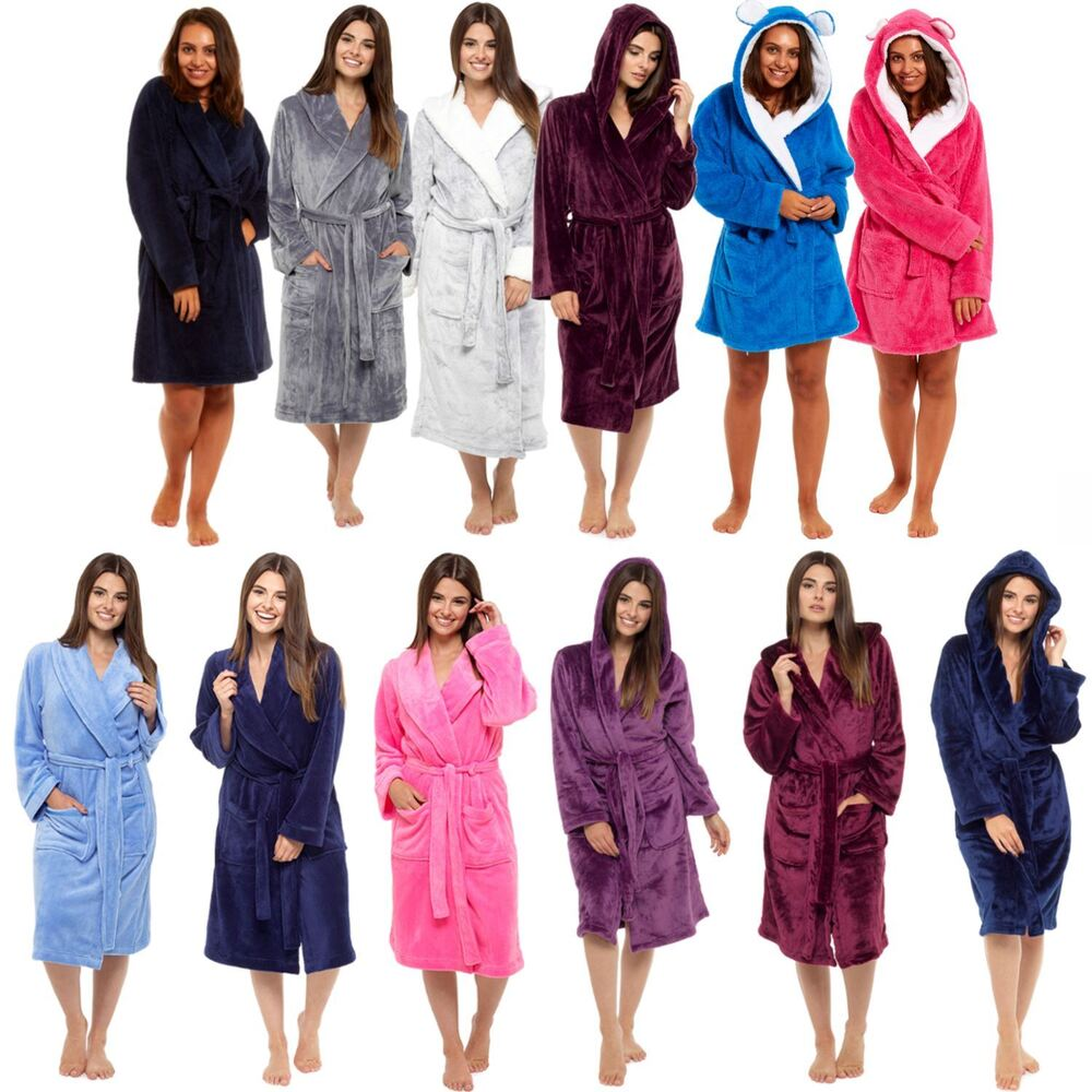 e734c254f2 Details about Ladies Luxurious Soft Dressing Gown Hooded Plain Fluffy  Snuggle Fleece Warm Robe
