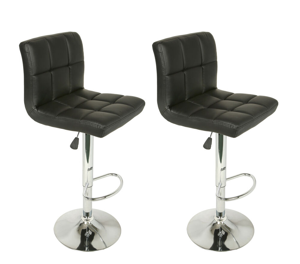 Set Of 2 Adjustable Swivel Bar Stools Faux Leather Square