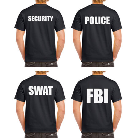img-POLICE SWAT FBI SECURITY Tshirt Tee Top CSI Fancy Dress Novelty Cops Workwear