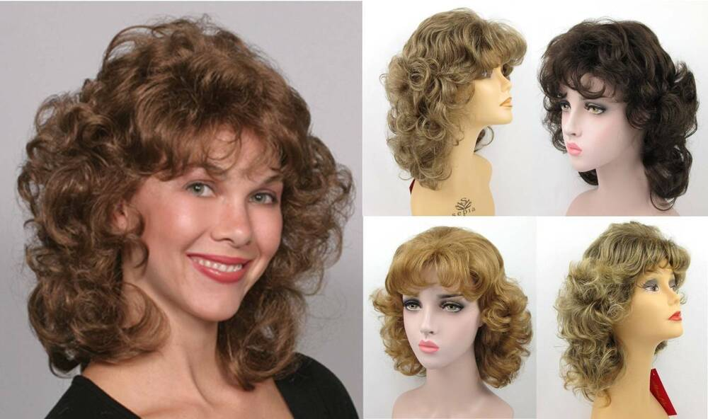 80S WOMEN SHORT SHOULDER LENGTH CURLY WAVY LAYERED SHAG