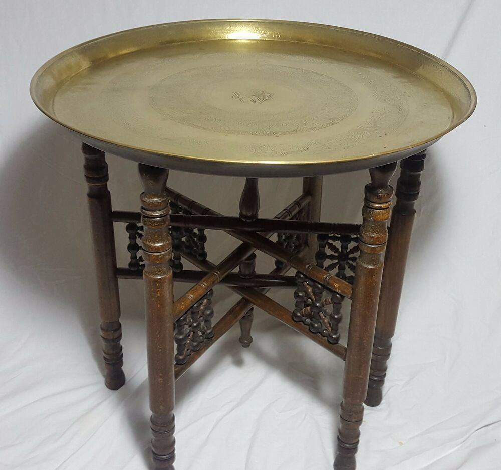 Beautiful Vintage Middle Eastern Brass Table With Wooden