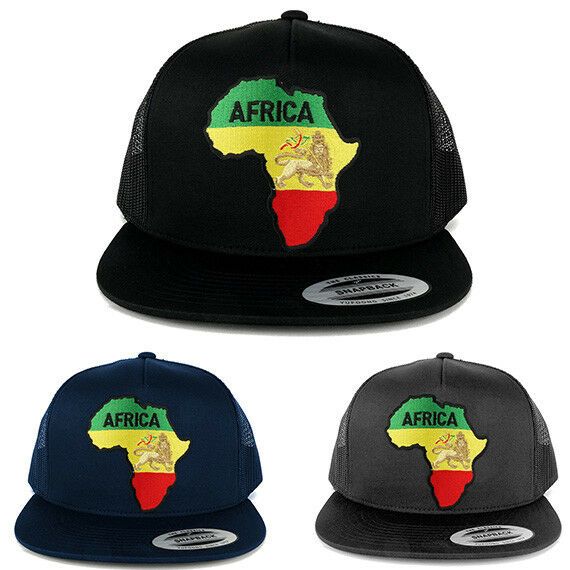 e2dc7ca90474d Details about 5 Panel RGY Africa Map and Rasta Lion Embroidered Patch Flat  Bill Mesh Snapback