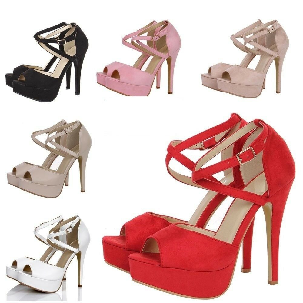805f3de7951 Details about STUNNING WOMEN PEEP TOE STRAPPY PLATFORM STILETTO LADIES HIGH  HEEL SANDAL SHOES