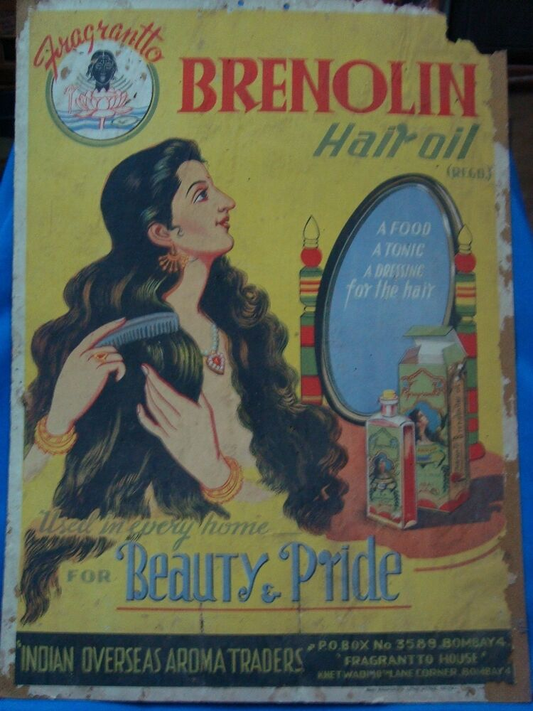 Old Vintage Paper Color Paintings Of Hair Oil Co Advertisement
