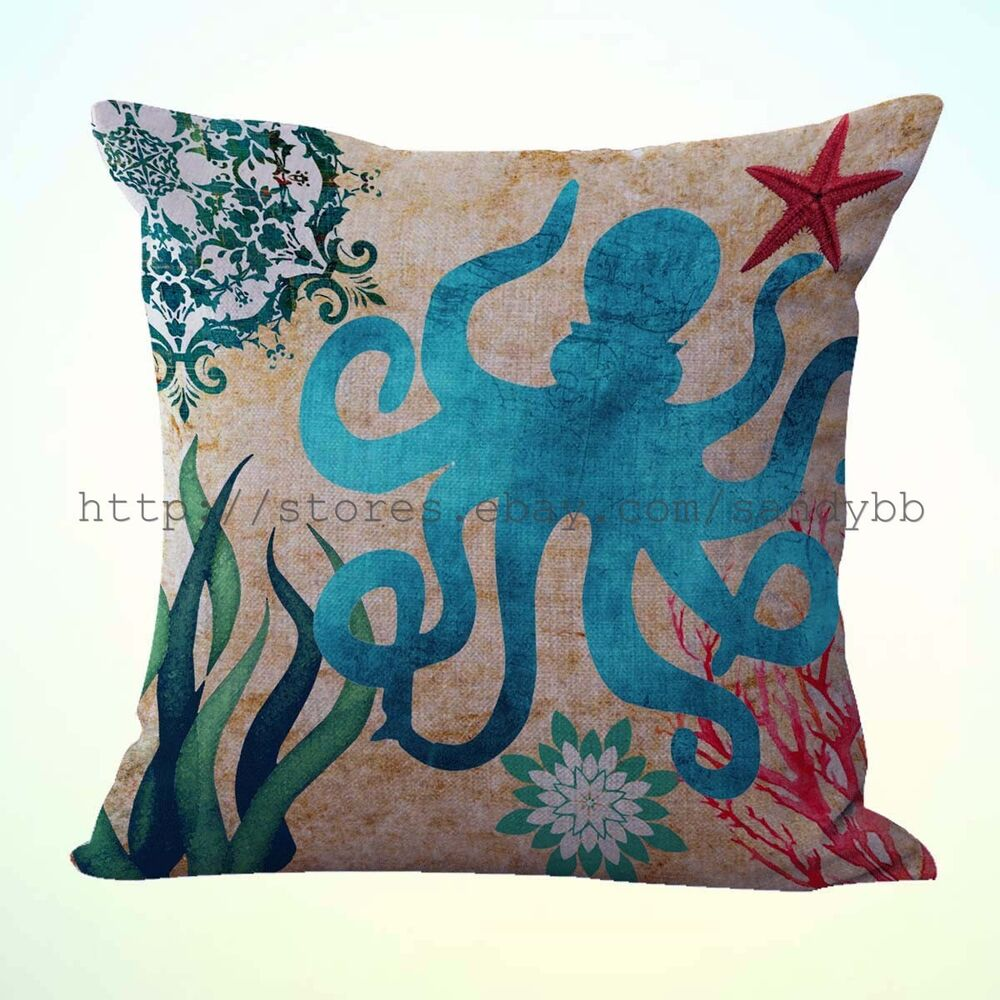 Us Seller Octopus Sea Animals Cushion Cover High End Decorative