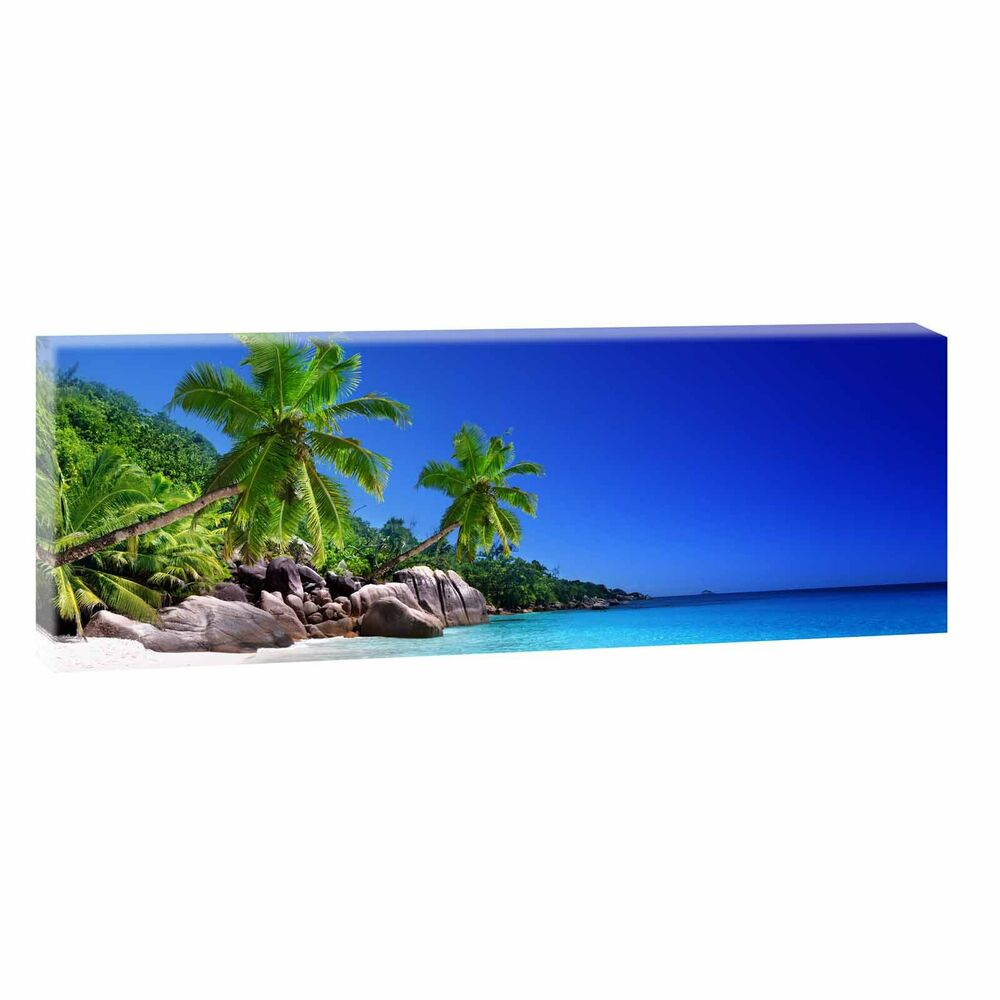 bild auf leinwand strand meer poster wandbild panorama xxl. Black Bedroom Furniture Sets. Home Design Ideas