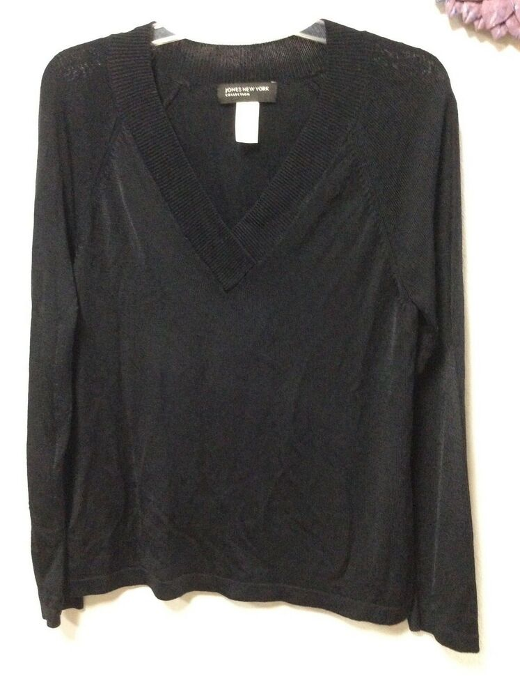 ebaea76685 Details about Ladies sweater size large black JONES NEW YORK heavy tight  knit long sleeves 152