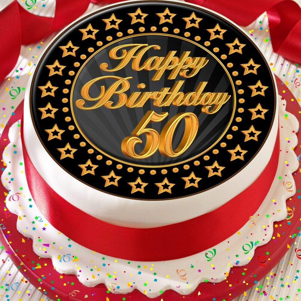 Details About PRECUT 75 INCH CAKE TOPPER EDIBLE PREMIUM RICE PAPER AGE 50 50TH BIRTHDAY