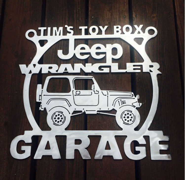 Jeep wrangler tj brushed steel metal garage sign any name for Garage jeep nimes