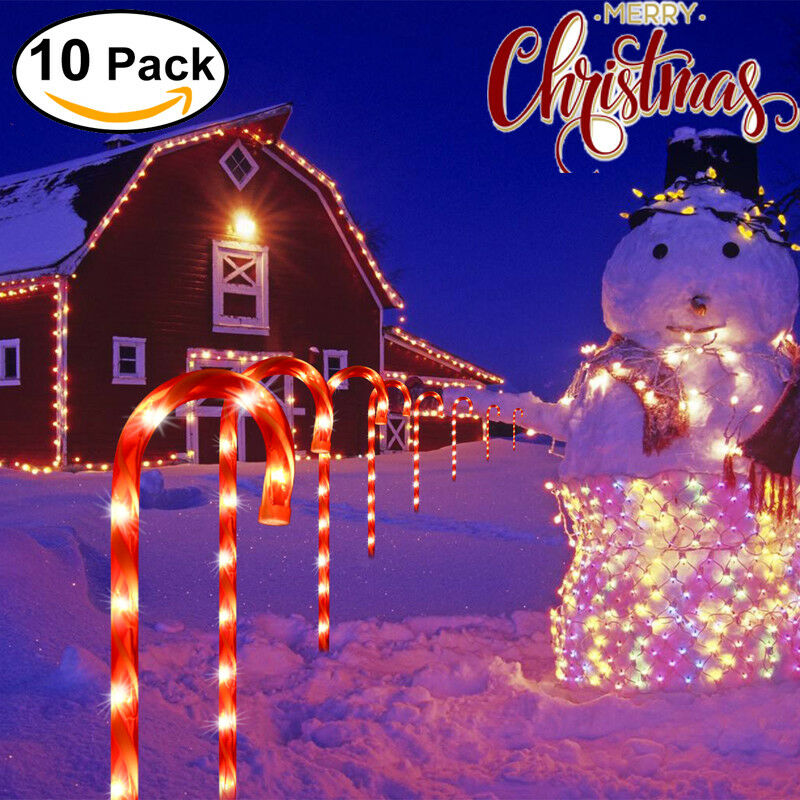 10Pcs CANDY CANE Pathway Lights DRIVEWAY MARKERS Christmas OUTDOOR  - Pathway Christmas Lights