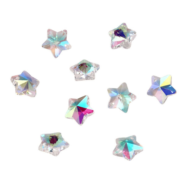 100pcs Clear Glass Faceted Star Charms AB Color Glossy Mini Dangle Pendants 13mm