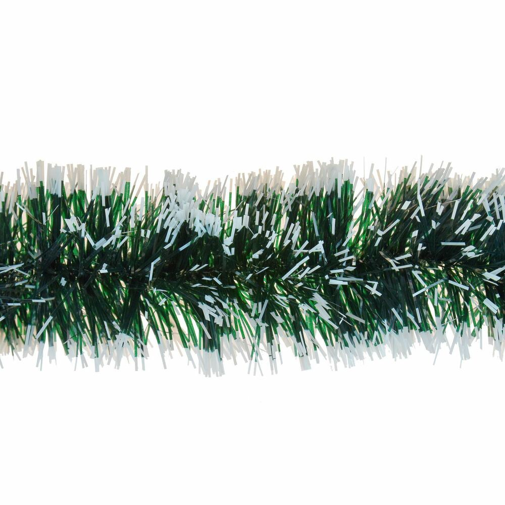 3m Snow Tipped Green Tinsel Garland 6ply Christmas Tree