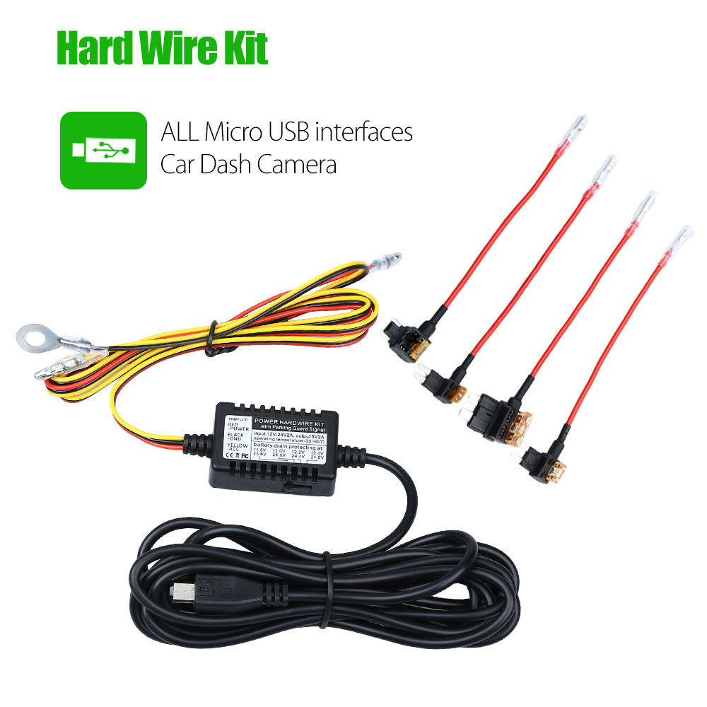 Universal Micro USB Hardwire Fuse Kit 12V to 5V Vehical CHARGER Hot For  Dash Cam 889251267185 | eBay
