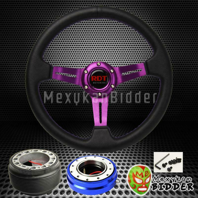 PURPLE DEEP DISH STEERING WHEEL + BLUE QUICK RELEASE FOR