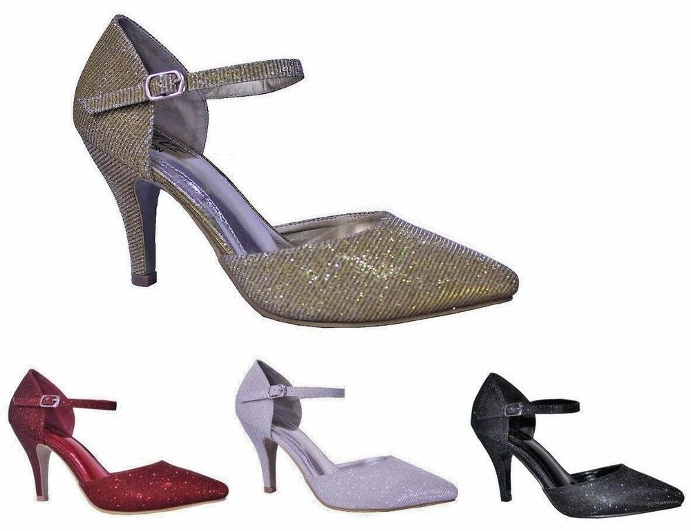 9d26dc8c0f9c Ladies Sparkly Glitter High Heel Evening Party Sandals Shoes Size 3 ...