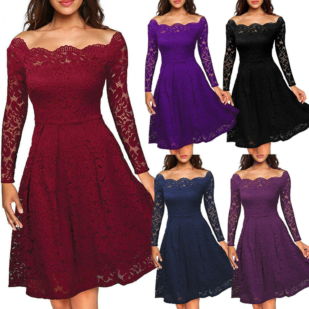 Uk Women Ladies Vintage Lace Swing Skater Party Evening