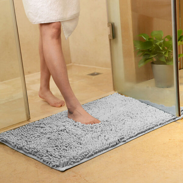 Non-slip Microfiber Shag Bathroom Rugs Bath Mats Shower Rug Dark Gray
