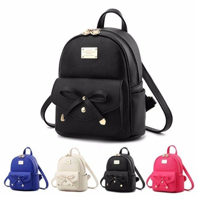 Details about Girls Bowknot Cute Bag PU Leather Backpack Mini Backpack  Purse for Women Fashion f16a7f2c75