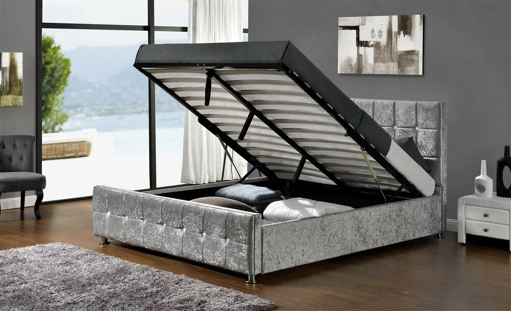 Ottoman Storage Cube Fabric Bed Frame Double King Size