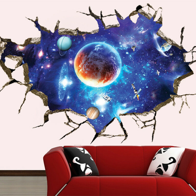 waterproof 3d pvc galaxy space removable wall sticker art decal wall