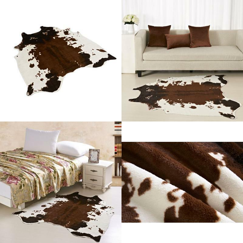 Large Cowhide Rug Cowskin Print Cow Hide Faux Leather