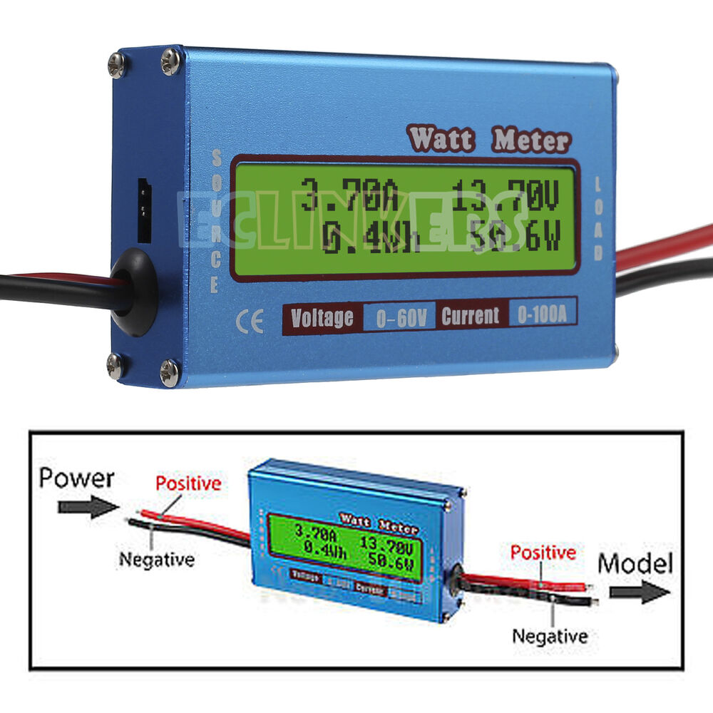 Backup Battery For Amp Meter : Digital lcd battery v a watt meter voltage amp