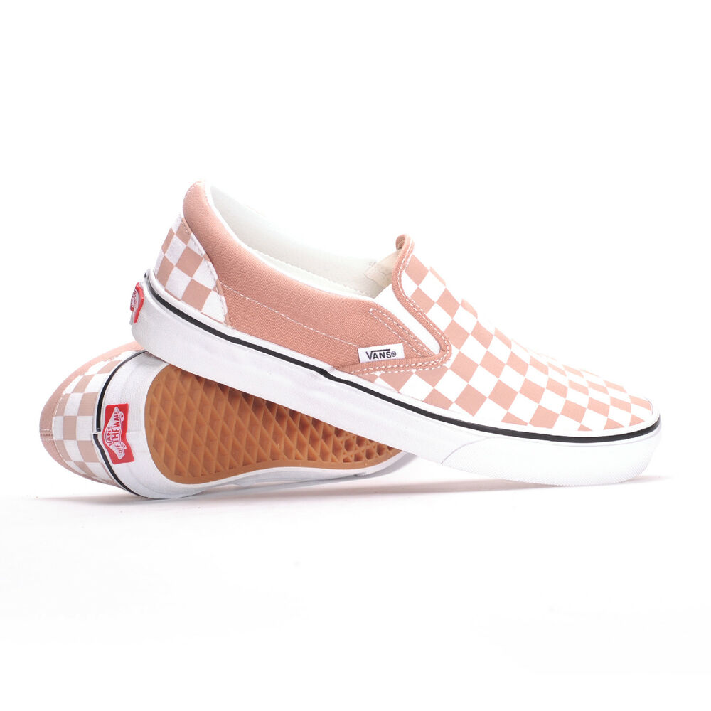 Vans Classic Slip-On (Checkerboard Mahogany Rose/True White) Womenu0026#39;s Shoes | EBay
