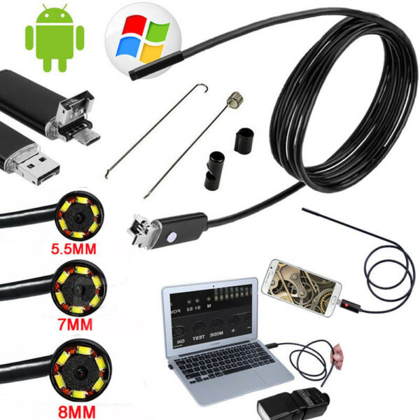 HD 1080P 2IN1 6LED Micro USB Android Endoscope Waterproof Inspection Camera Tube