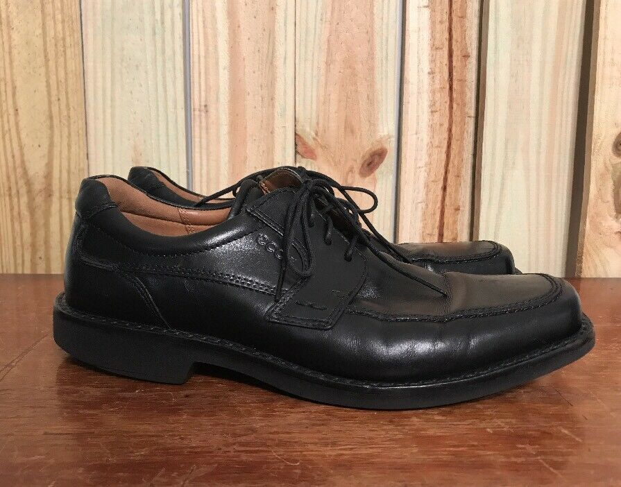Ecco Black Leather Casual Oxford Dress Shoe Mens Size Eur 44 Us 10