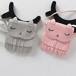Lovely Children Girls PU Leather Tassel Small Cat Shoulder Messenger Bag Purses