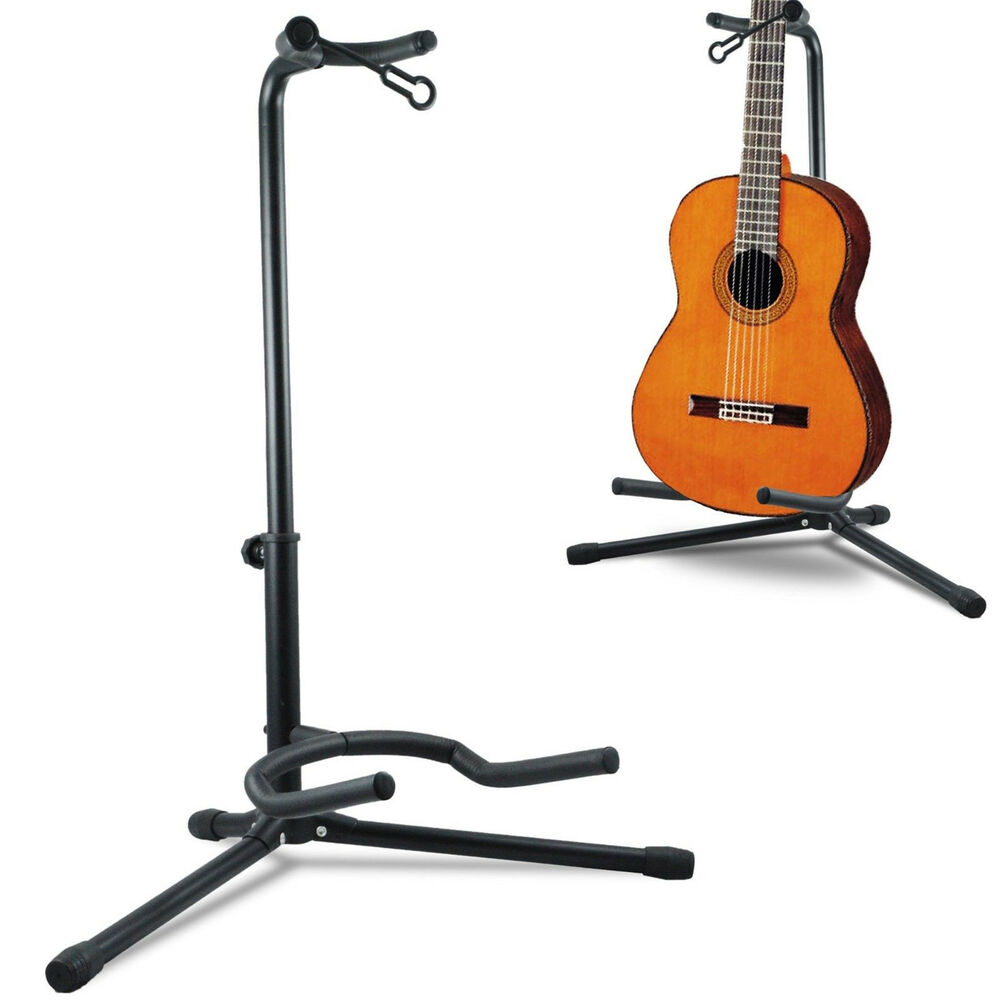 telescopic guitar stand acoustic electric bass adjustable folding tripod stand ebay. Black Bedroom Furniture Sets. Home Design Ideas
