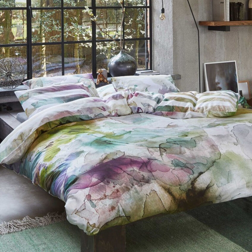 essenza satin bettw sche lewis aquarell batik streifen beige lila 200x200 cm ebay. Black Bedroom Furniture Sets. Home Design Ideas