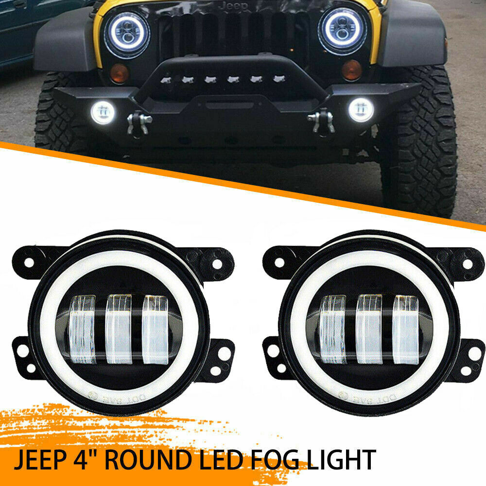 Black Bezel 60w 4 Cree Round Led Fog Lights W Wiring For Jeep Auxiliary Dodge Chrysler 661708874142 Ebay