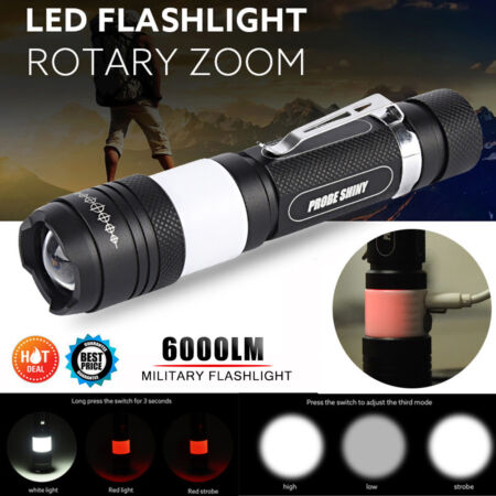 img-Super Bright X800 XML T6 LED 6000LM Military Zoomable Flashlight Torch Lamp