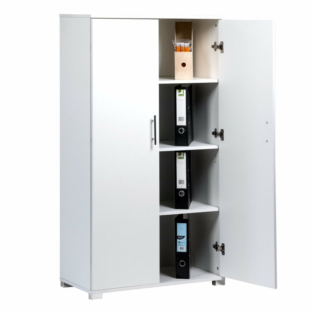 Details About White Office Furniture Stationary Storage Cupboard Two Door Filing Cabinets