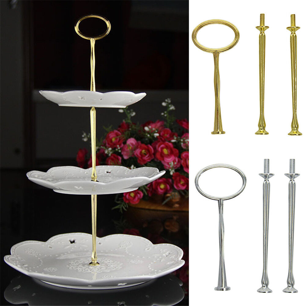 3 Tier Cake Cupcake Plate Stand Party Metal Handle