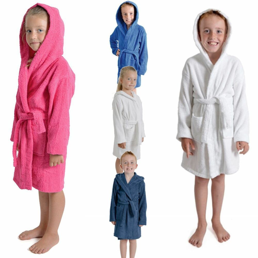 43eb33ce1d Details about Kids Boys Girls Terry Towelling Soft Dressing Gown Bath Robes  100% Cotton Hooded