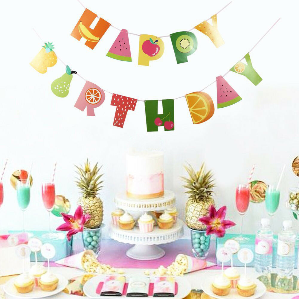 9.8ft Tropical Fruit Happy Birthday Banner Hawaii Party