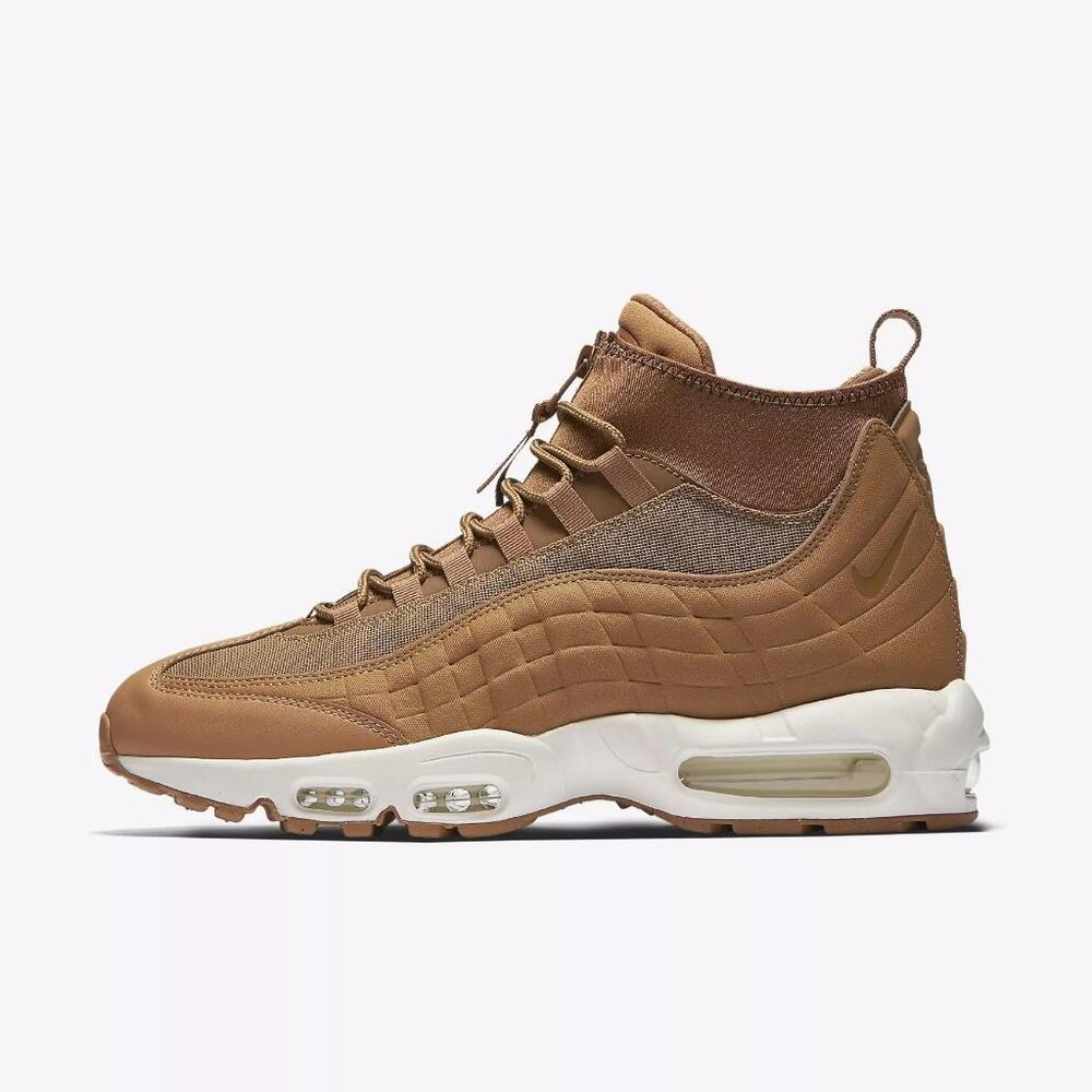 best service 3f0f5 9f849 Details about NIKE AIR MAX 95 SNEAKERBOOT WHEAT 806809 201 FLAX ALE BROWN  SAIL WHITE GUM